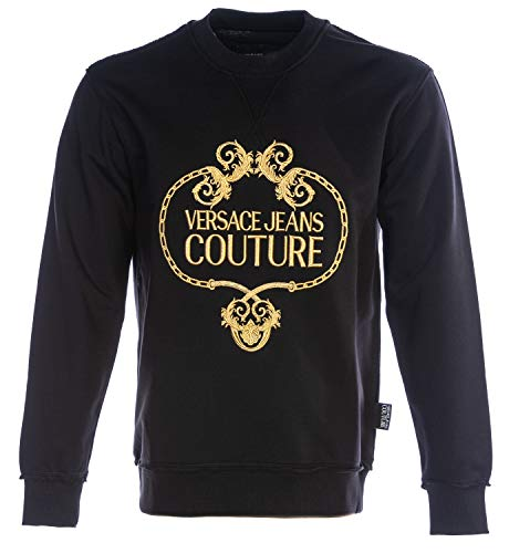 VERSACE JEANS COUTURE VJC Gold Baroque Sweat Top in Black | Hoodies Pullover Long Sleeve Jumpers Hooded Top Sweatshirt