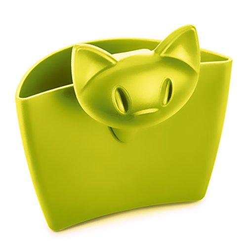 koziol Tassenutensilo Miaou, Kunststoff, senfgrün, 5.7 x 7.2 x 7.2 cm