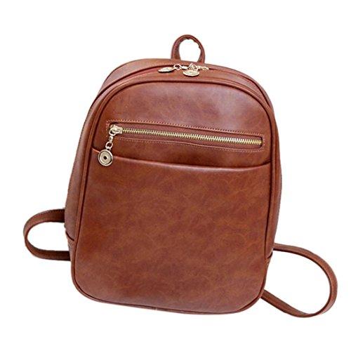 Schultaschen Damen Btruely Mädchen Leder Rucksäcke Reisen Mädchen Elegant Reisetaschen Mode Damen Tasche (Braun)