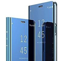 ケース Huawei P40 Pro+ ケース 手帳型 鏡面ケースミ PUレザー 携帯ケースミラー 耐衝撃 透明カバー 衝撃吸収 四隅滑り止め全面保護 HuaweiP40 Pro Plus ケース スタンド機能 カードホルダー付き 面白い 鏡メッキフリップ ハイブリッド メイクアップミラー ケース、耐汚れ 滑り防止 反塵 薄型カバー (青, Huawei P40 Pro+ 6.58'')