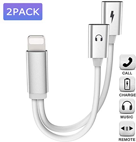 MoonshineStillPro iPhone Adapter,Dual Lighting Headphones Jack and Charge Adapter Dongle Cable Compatible with iPhone 11/11Pro/X/XR/XS/XSmax/8/7,Support All iOS System (for Original Earphone only)