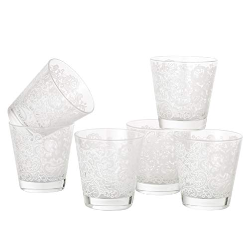 MONTEMAGGI Set 6 bicchieri acqua Decoro Colorato Stampato Trina Bianca in vetro MADE IN ITALY Capienza 25 Cl.