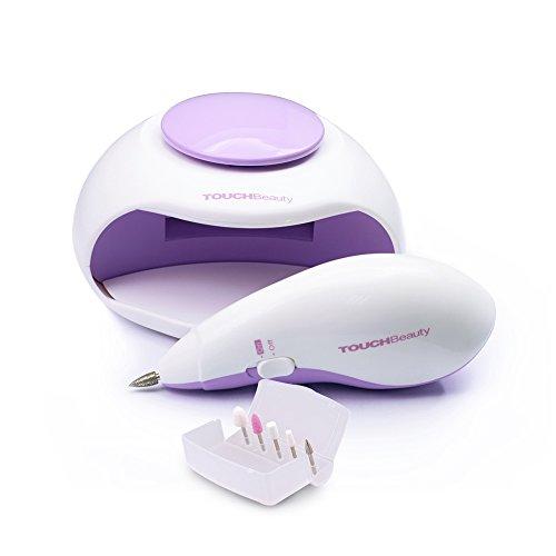 TouchBeauty AG-1001 sèche-ongles électrique avec air et 3 lumières LED, adéquat pour le vernis à ongles normal, set de manucure et pédicure avec 5 pointes électriques de lime à ongles