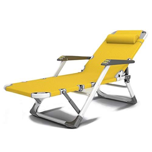 HAO SHOP Inoxidable Silla Gravedad Cero, Tumbona Plegable Sillas Relax Reclinable Multiposiciones para Muebles Camping Terraza Playa Piscina Exterior, Rosa L300YL (Color : Yellow)