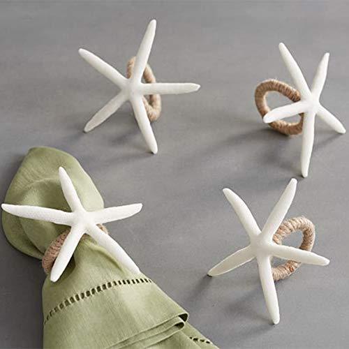 wonlex Handmade Napkin Rings Set of 4, White Faux Sea Star Napkin Ring for Crafts, Starfish Serviette for Tables, Wedding, Birthday, Banquet, Thanksgiving Day, Christmas (Starfish)
