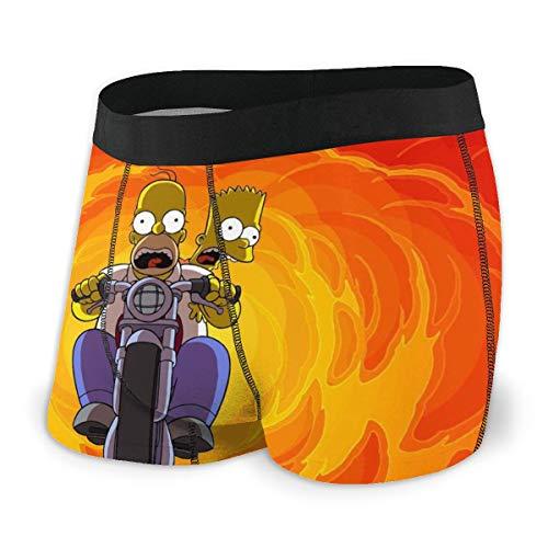 EWRVSXZ Simpsons Homer Bart Herren Boxershorts Unterhose Druckdesign mit weichem Stretchstoff und elastischem Gürtel Gr. S, Schwarz
