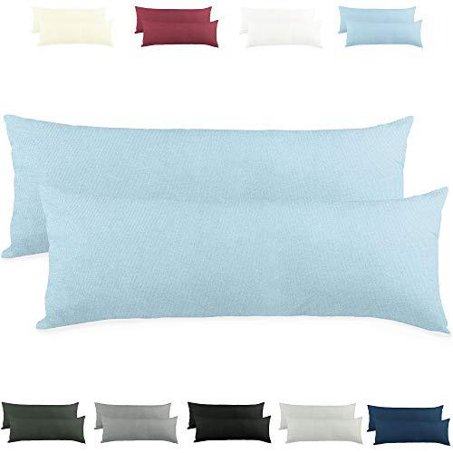 CelinaTex Active Seitenschläferkissen Bezug Doppelpack Set 40x120 Aqua blau Baumwolle Jersey Stillkissen Kissenhülle 5001547