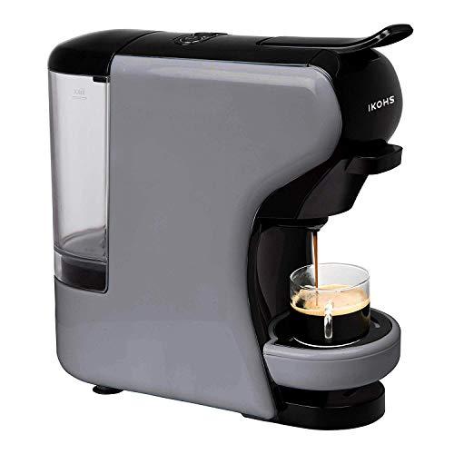 IKOHS Máquina de Café Espresso Italiano - Cafetera Multi Cápsulas Compatible Nespresso 3 en 1, 19 bares con 2 Programas de Café, deposito extraíble, 0,6 L, compacto, 1450 W, apagado automático Gris