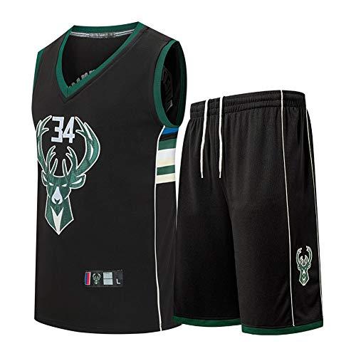 DDOYY Jersey de baloncesto para hombres Giannis Antetokounmpo # 34 dólares sin mangas, juego de baloncesto, ropa sin mangas, deportes al aire libre, fitness S-3XL