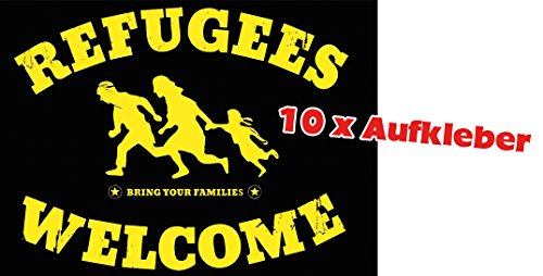 Racker-n-Roll REFUGEES WELCOME Bring your families 10er Pack Aufkleber