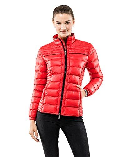 Vincenzo Boretti Damen Steppjacke Slim-fit tailliert Übergangs-Jacke leicht dünn weich warm gefüttert für Frühling Herbst modern elegant - EIN Style für Business und Freizeit rot S