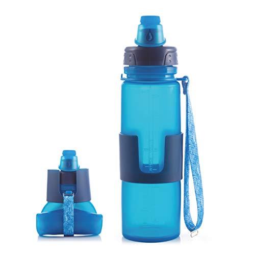 Berela - Roll BOT - Botella de Silicona Plegable y Enrollable - Capacidad 500 ml. Botella Enrollable a Prueba de Fugas para Deporte, Exteriores, Escuela y Camping, sin BPA, 100% Silicona, Colo