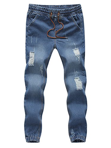 Mens Light Wash Straight Slim Fit Stretch Blue Biker Jeans with Zips