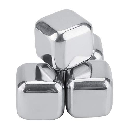Los cubos de hielo del metal del acero inoxidable, las piedras heladas reutilizables se utilizan para las piedras de la bandeja de enfriamiento del whisky(4 piezas)