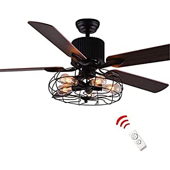 Amazon Com Luolax 52 Inch Industrial Vintage Retro Semi Flush Mount Ceiling Fan Light Withr Pendant Light With 5 Lights Wood Blade Led Fan Chandelier With Remote Control For Restaurant Home Bedroom Living Room Kitchen