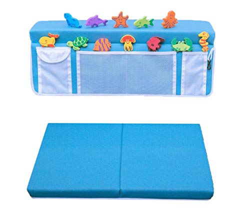 Bath Kneeler and Elbow Rest with 12 FREE Bath Toys- Machine Washable & Fast Dry PE Foam Elbow& Knee Pads with Non-Slip Bottom for Baby Bath Accessories, gardening, Exercise Equipment, Baby Shower Gift