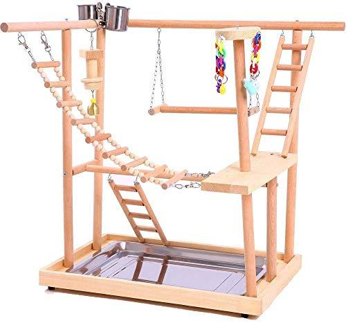 Soporte De Juego Para Nido De Pájaro, Gimnasio / Loro, Parque Infantil Interactivo, Soporte De Plataforma Para Percha De Pájaro, Puente Colgante, Escalera De Madera Para Escalar Para Animales Pequeños