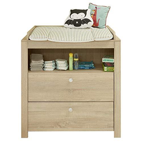 trendteam smart living Babyzimmer Wickelkommode Kommode Olivia, 0 x 0 x 0 cm Eiche Sägerau hell mit viel Stauraum und großzügiger Wickelfläche