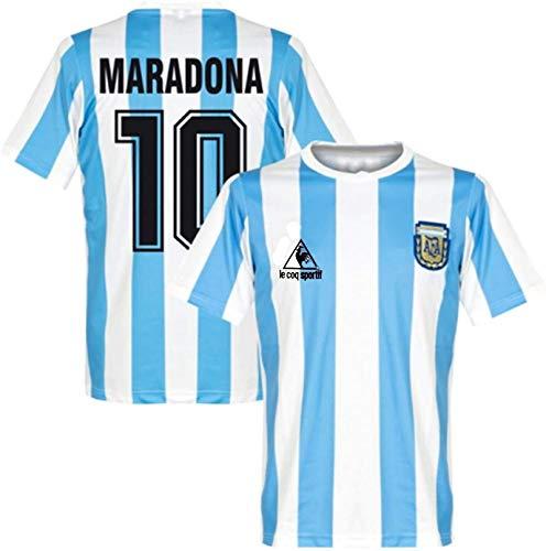 Maglia Da Calcio Commemorativa Retrò Set - Mano Sinistra Di Dio Diego Maradona # 10 Maglia Da Calcio Casalinga Argentina Maglietta Commemorativa Coppa Del Mondo 1986 Retro (XL)