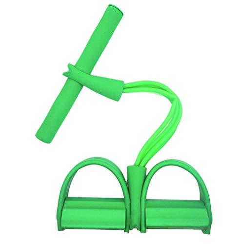 YiiJee 4 Bauchtrainer Widerstandsbänder mit Fußpadal, Beintrainer, Yoga Fitness, Sit-up Gym Equipment Grün