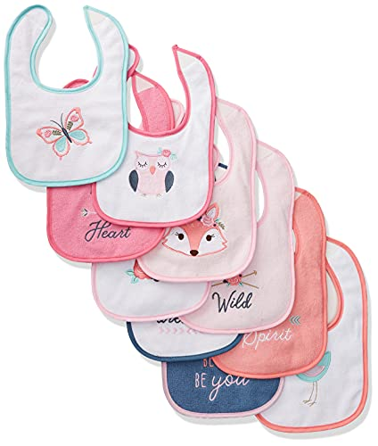 Hudson Baby Unisex Baby Cotton Terry Drooler Bibs with Fiber Filling, Girl Fox, One Size