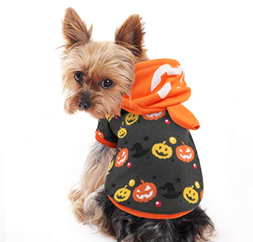 Idepet Halloween Pumpkin Dog Costume, Lovely Pet Puppy Sweatshirts Hoodie Funny Clothes for Dogs and Cats (M)