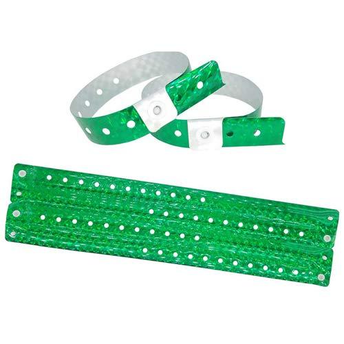 Lote de 100 pulseras de plástico – Vinilo para eventos festivales – Impermeable, color verde holográfico
