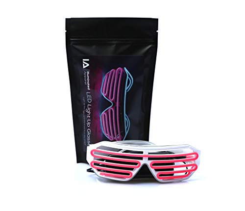 Pink Blue Neon LED Light Up Glasses Illuminated Apparel Glow Party Festival Rave