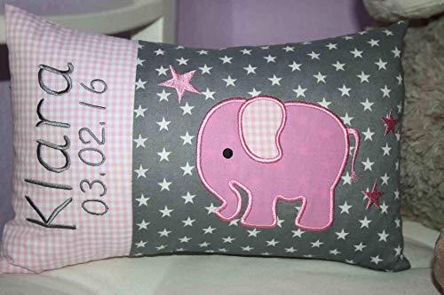 Kissen Elefant rosa grau mit Namen bestickt und Inlett *1