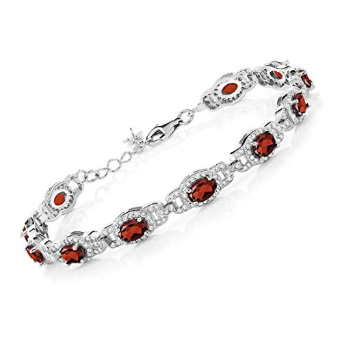 Gem Stone King Red Garnet 925 Sterling Silver 7 Inch Bracelet 9.65 Ct Gemstone Birthstone Oval With 1 Inch Extender