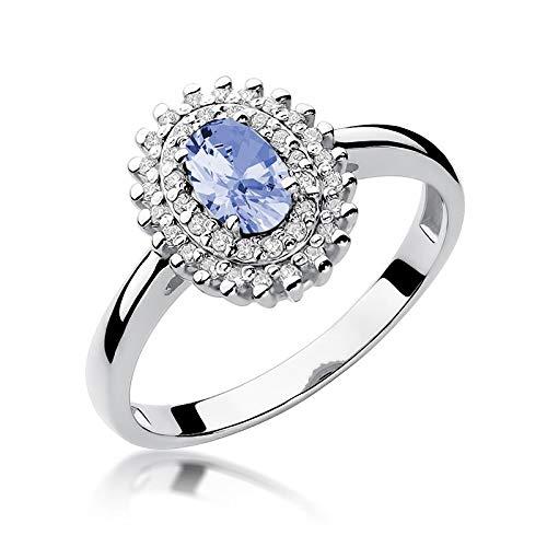 Anillo para mujer de oro blanco 585 de 14 quilates, tanzanita, piedras preciosas y diamantes
