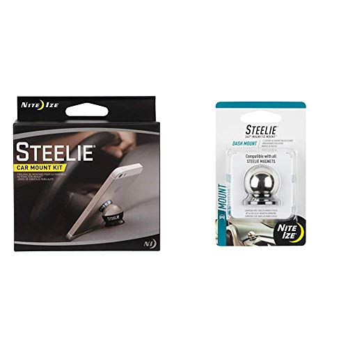 Nite Ize Original Steelie Dash Mount Kit - Magnetic Car Dash Mount for Smartphones Bundle with Nite Ize Original Steelie Dash Ball - Additional Dash Ball for Steelie Magnetic Phone Mounting System