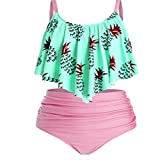 Mujer Traje de Baño Dos Piezas Conjunto de Bikini, Mujeres 2 piezas Tankini Tankini traje de baño volante top top altas cintura alta rhched inferior bikini conjunto playa traje de baño traje de baño R