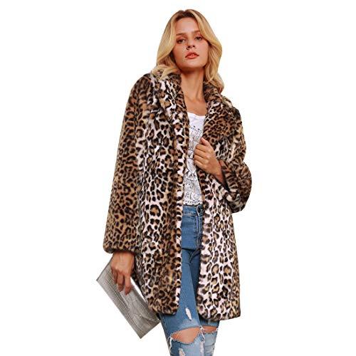 Price comparison product image Leopard Faux Fur Coat,  Winter Faux Coat fur Outerwear Coats for Women,  Long Sleeves Sexy Lapel Leopard Coat Warm Jacket (L)