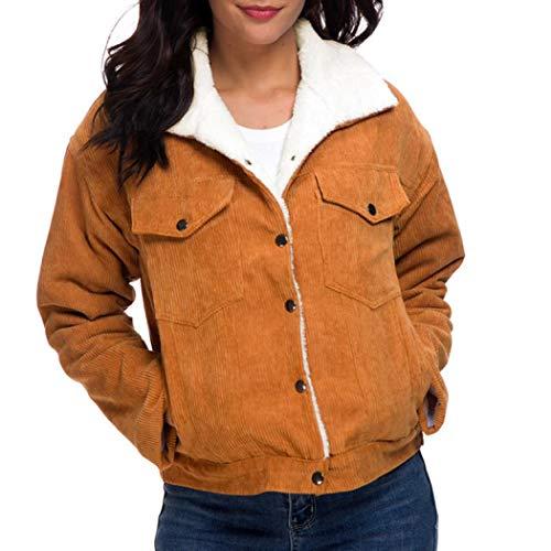 Women Fleece Corduroy Jacket Fashion Thermal Lined Jacket Casual Winter Coats (s, Khaki)