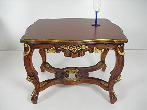 handmade Beistelltisch, Sofatisch, Exclusive, in nußbaumfarben mit Goldblattauflagen im venezianischem Stil