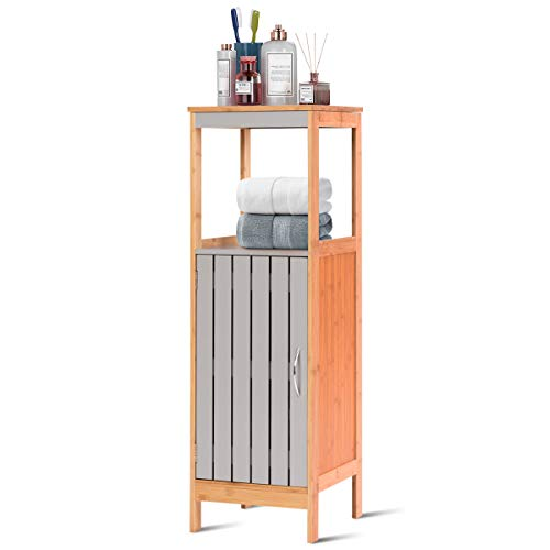 Tangkula Bathroom Floor Cabinet, Freestanding Single Door Bamboo 3-Tier Storage Organizer Unit w/Adjustable Shelf Multifunctional for Bathroom Living Room Bedroom Modern Storage Cabinet (12'x12'x38')