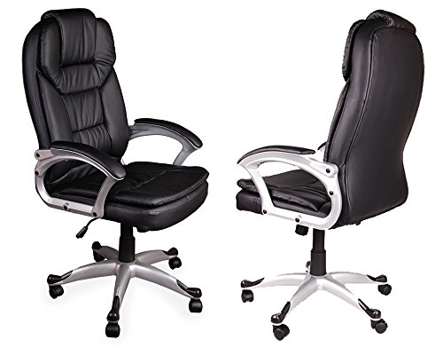 Giosedio BSM Nero sedia scrivania poltrona elegante per ufficio, Sedile in pelle confortevole, Sedia Scrivania, Poltrona ufficio similpelle,altezza regolabile, girevole, Larga Sedia ergonomica. (Nero)