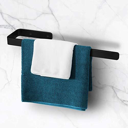 tradeNX - Toallero para baño y cocina, con diseño sencillo y moderno, en acero inoxidable, color negro