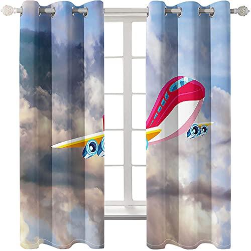 Cortinas Opacas Avión De Dibujos Animados 2 Piezas De Cortinas Opacas Resistente Al Calor Y La Luz para Salón Dormitorio Cortina Gruesa Y Suave para Oficina Moderna 220 * 215cm