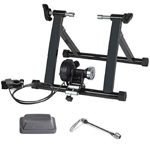 GETS Fahrrad-Indoor-Trainingsständer, magnetisch, faltbar, Turbo-Trainer, Kraftdämpfung, für 50,8 - 71,1 cm Fahrräder oder Räder, Herren, Schwarz , 24-28 inch mt02wired