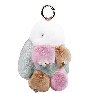 KUMEED Real Rex Rabbit Bunny Pom Pom Keychain Easter Rabbit Fur Fluffy Cute Keychain Key Ring Pendant Key Chains for Women Girl Bag Handbag Car Decoration