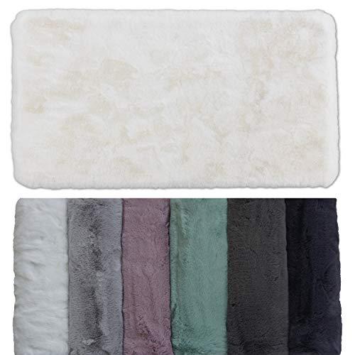 Schöner Wohnen Kollektion Badezimmerteppich 40 x 60 cm – sehr Flauschige Badematte weiß – waschbar und rutschhemmend