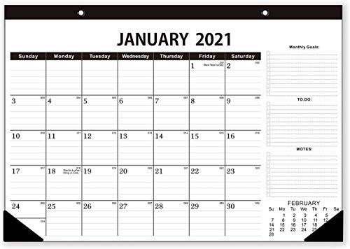 Calendario de escritorio 2021, Calendario 2021, va desde enero de 2021 a diciembre de 2021, lista de tareas pendientes, para escribir y apuntar 43cm x 30.5cm