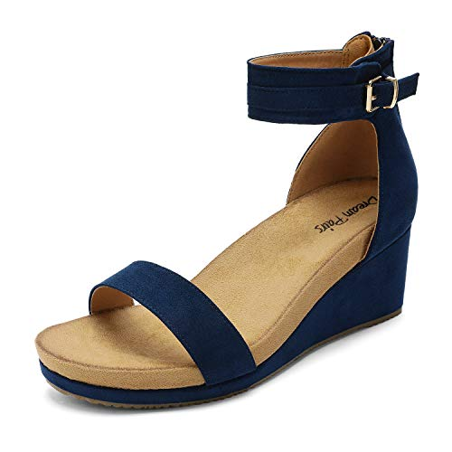 DREAM PAIRS Women's Navy Open Toe Buckle Ankle Strap Summer Platform Wedge Sandals Size 8.5 M US Nini-6