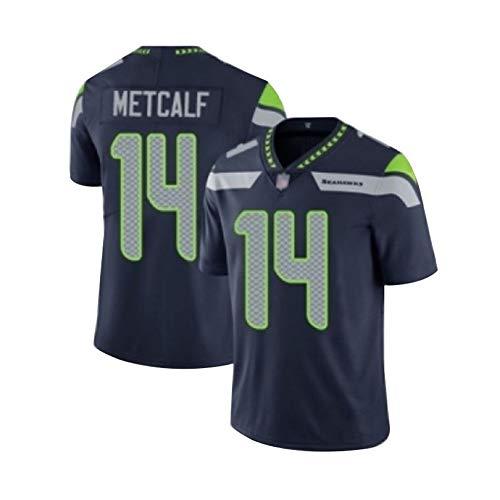 Herren Rugby-Trikot #14 DK Metcalf Seattle Seahawks Unisex American Football Jersey Sweatshirt Supporters Alternate Jersey, 123, blau, XL(85~95KG)