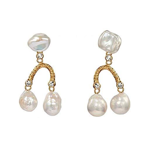 Elegante Simplicidad Vintage Color Oro Perlas Colgantes Pendientes Mujer Boda Fiesta Regalos Barroco Araña Largo Declaración Pendientes N-J Blanco