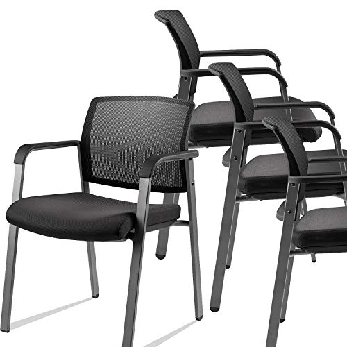 CLATINA Mesh Back Stacking Arm Chairs with Upholstered Fabric Seat and Ergonomic Lumber Support for Office School Church Guest Reception Black 4 Pack Set New Version