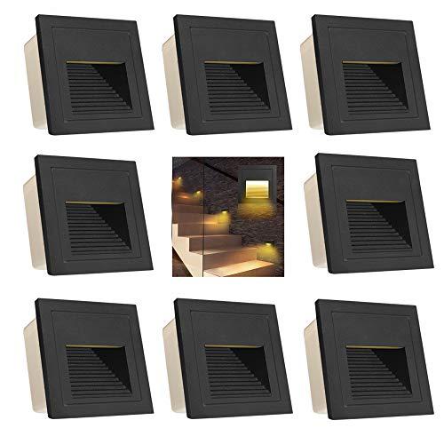 Arotelicht 8er Set 3W LED Treppenleuchte Treppenlicht Treppenbeleuchtung, Wandleuchte aussen Wandeinbauleuchte 230V Mauer Beleuchtung Lampe Alu warmweiß 3000K IP65, schwarz, inkl. Dose