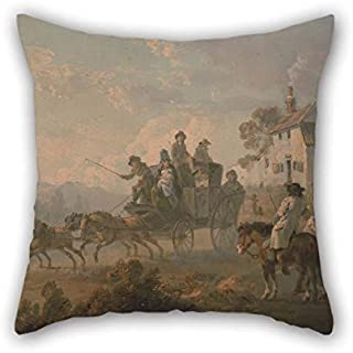 TonyLegner Oil Painting Julius Caesar Ibbetson - A Stage Coach On A Country Road Pillowcase 16 X 16 Inches / 40 by 40 cm Gift Or Decor for Home Office Family Wedding Pub Kids Boys Girls - Each Side